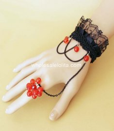 DIY Vintage Victorian Style Black & Red Ladies Bracelet & Ring