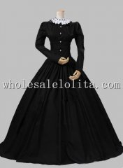 Victorian Gothic Black Dress Gown Reenactment Theatre Costume Party Dress