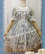 Elegant Blue Stripe Puff Half Sleeves Classic Lolita Dress
