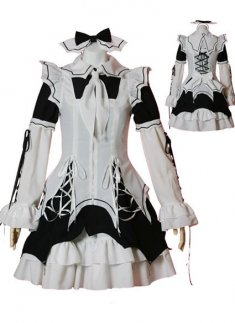 Black and White Long Sleeves Bandages Cotton Lolita Dress