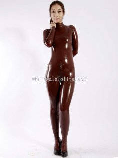 Unisex Coffee Latex Catsuits