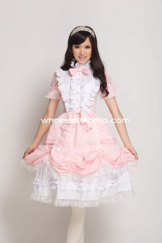 Pink Cotton Sweet Lolita Dress Gothic Victorian Princess Style Ball Gown
