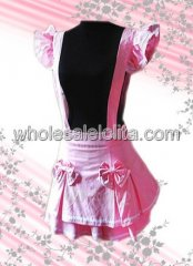 Pink Bow Cotton Lolita Skirt with Suspender Style