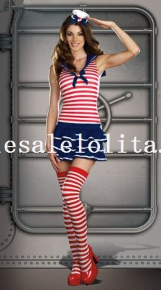 Halloween Red and Blue Stripes Lady Sailor/Navy Costume Role Play Dress