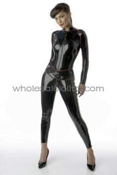 Classic Black Front & Side Zipper Latex Catsuit without Feet Encased