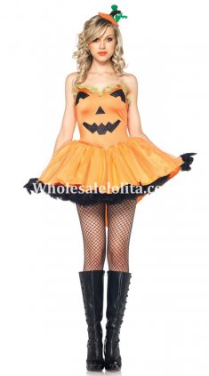 Orange Pumpkin Pattern Straps Halloween Costume Dress