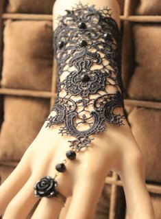 Gothic Black Bridal Gloves Lace Lolita Bracelet
