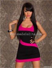 Black And Red Curves Mini Club Dress