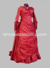 Dracula Mina's Red Gothic Victorian Bustle Gown Halloween Costume Vampire Ball Gown