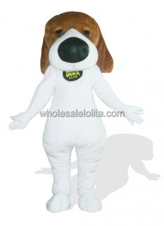 White Plush Dog Mascot for Adult with Big Nose