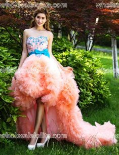 Fashion Pink A-Line Floor Length Strapless Sexy Party Dress Train Long Prom Dress
