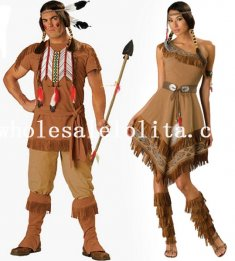 Halloween Couple Indian Cosplay Costume Hunter Clothing