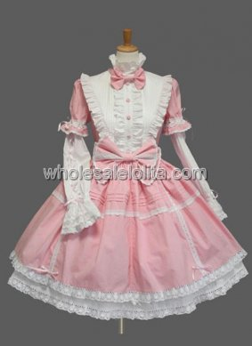 Pink and White Long Sleeves Bow Cotton Lolita Dress