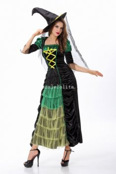 Gothic Black Green Witch Cosplay Costume Halloween Masquerade Dress