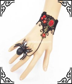 Halloween Party Gothic Punk Black & Red Spider Bracelet & Ring