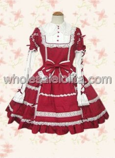Pretty Long Sleeves Red And White Sweet Lolita Dress