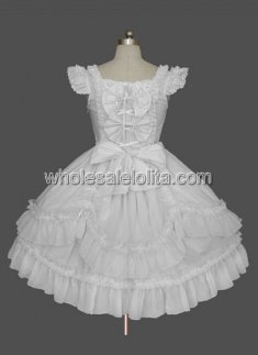 White Cap Sleeves Bow Lace Cotton Sweet Lolita Dress