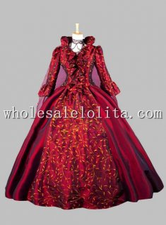 Gothic Wine Red Printing Luxury Victorian Era Dress Ball Gown