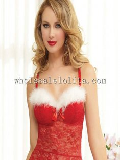 Lovely Christmas Red Lace Bustier