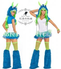 Female Blue Monster Cosplay Faux Fur Animal Halloween Costume