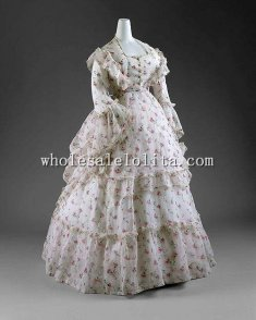 1872 Sheer Printed Cotton Late 19th Century Victorian Afternoon Reception Day Dresses