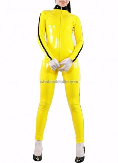 Hot Sale Sexy Yellow PVC Catsuit for Female