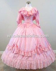 Mid 19th Century Pink Jacquard Ruffled Victorian Civil War Reenactment Dress Wedding Ball Gown