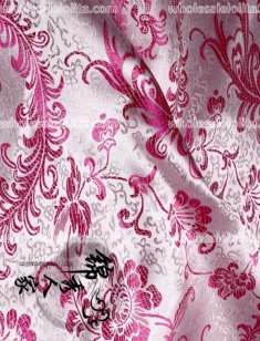 High-End Pink Floral Jacquard Silk Fabric