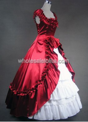 Gothic Red and White Victorian Civil War Southern Belle Gown Dress