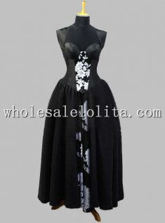 Gothic Black Silk-like and White Floral Print Sleeveless Victorian Dress