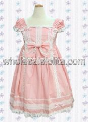 Pink Cap Sleeves Bow Lace Cotton Sweet Lolita Dress