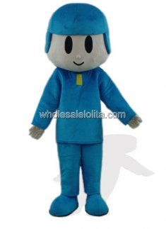 Blue Hat Boy Plush Mascot Costume