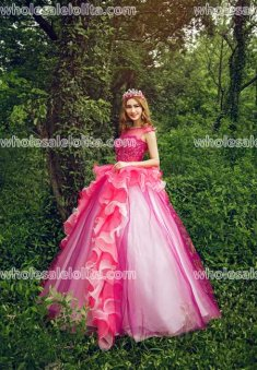 Fashion A-Line Floor Length Sweet Organza Party Dress Long Prom Gown