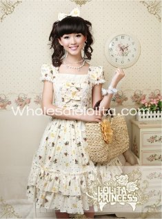Hot Sale Light Yellow Teddy Bear Print Cotton Sweet OP Lolita Dress