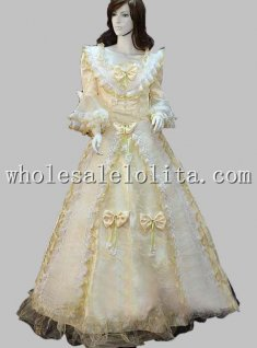 Golden Royal 18th Century V Neck Rococo Baroque Prom Dress