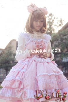 Super Gorgeous Nine Layer Ruffles JSK Pink Sweet Lolita Dress