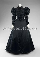 1890s Black Silk Satin Mutton Leg Sleeves Victorian Bustle Dinner Dress