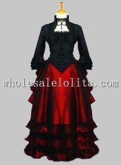 Gothic Black and Red Victorian Bustle Vampire Ball Gown Themed Costume Stage Wear