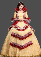Historical Royal Court Gold Princess Theatre Clothing Theme Party Dress