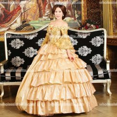 Vintage Gothic Court Dresses Floor-Length Lace-up Light Yellow Evening Dress Gowns