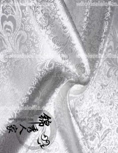 High-End White Floral Jacquard Silk Fabric