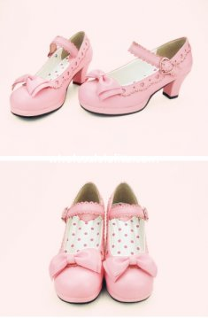 Simple Design Sweet Bow 6cm High Heel Classic Lolita Shoes