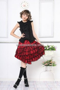 Black and Red Asymmetric Hem Punk Lolita Suit