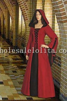 16/17th Century Red and Black Cotton Medieval Renaissance Maiden Dress Gown with Hood