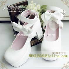 Alice Series Pure White Bow Chunky Heel Cross Ankle Straps Princess Lolita Shoes