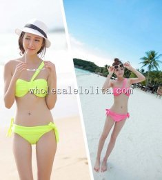 Sweet Sexy One-shoulder Solid Color Beach Bikini Two Piece