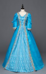 Blue Southern Belle Ball Gown Dress Reenactment Clothing Medieval Marie Antoinette Princess Costume