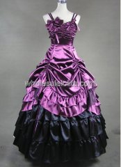 Spaghetti Purple and Black Victorian Lolita Dress Wedding Southern Belle Gown Prom Dress