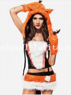 Hooded Fluzzy Cat Costume for Women