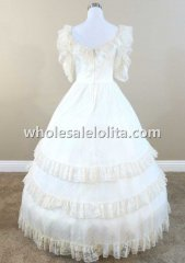 Victorian Ivory Dotted Chiffon & Lace Civil War Southern Belle Dress Wedding Masquerade Ball Gown